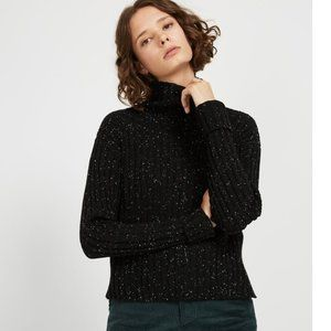 Frank and Oak Donegal Small Black Mock Neck Wool Blend Ribbed Pullover Sweater